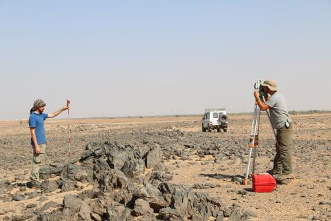 Mapping at a burial site near al-Karmal